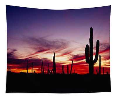 Silhouette Of Saguaro Cactus Carnegiea Tapestry