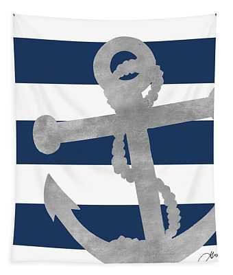 Silver Coastal On Blue Stripe I Tapestry