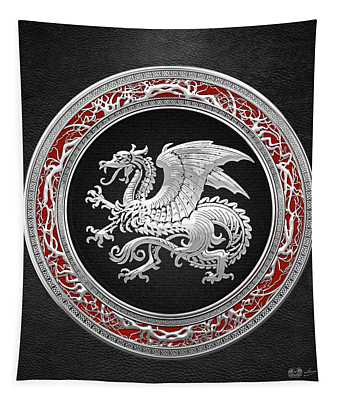 Silver Icelandic Dragon  Tapestry