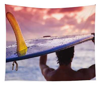 Single Fin Surfer Tapestry