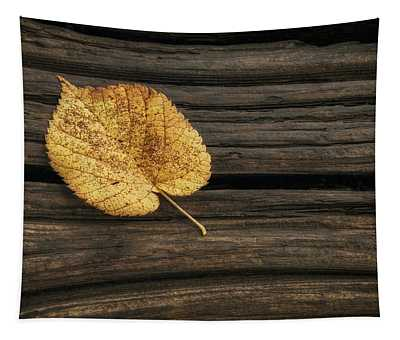 Single Yellow Birch Leaf Tapestry