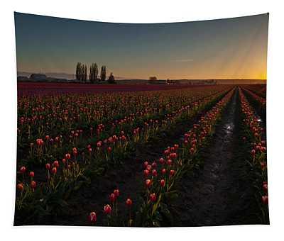 Skagit Dusk Tulip Fields Tapestry