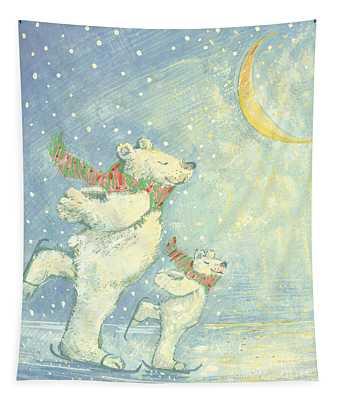 Skating Polar Bears Tapestry
