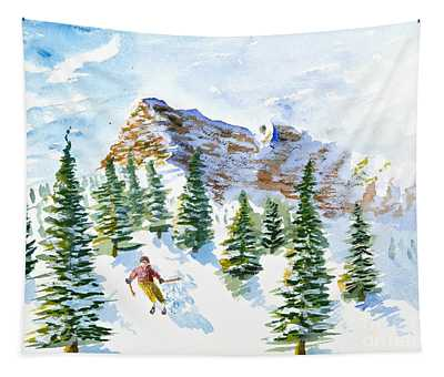 Skier In The Trees Tapestry