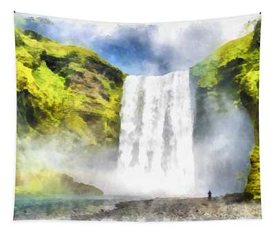 Skogafoss Waterfall Iceland Painting Aquarell Watercolor Tapestry
