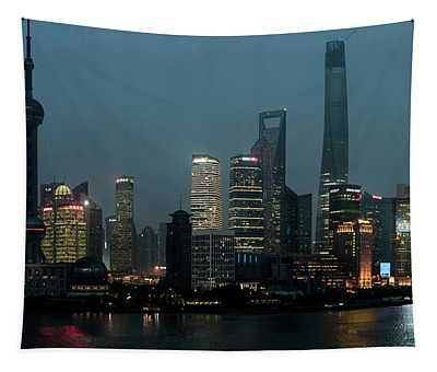 Skylines At The Waterfront At Night Tapestry
