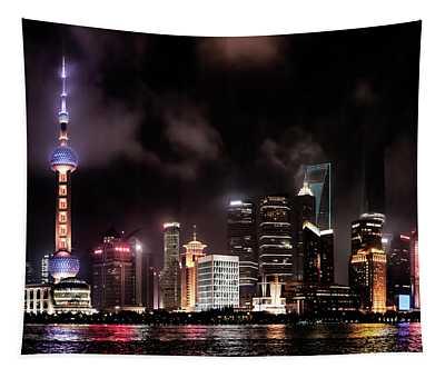 Skylines Lit At Night, Oriental Pearl Tapestry