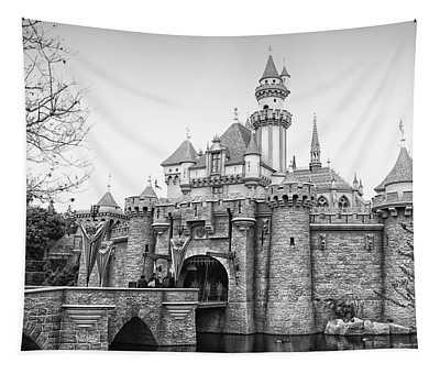 Sleeping Beauty Castle Disneyland Side View Bw Tapestry