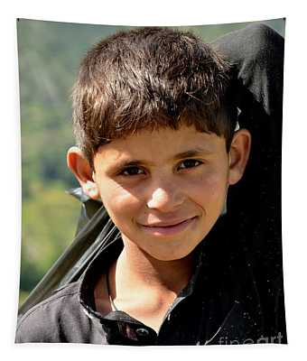 Smiling Boy In The Swat Valley - Pakistan Tapestry