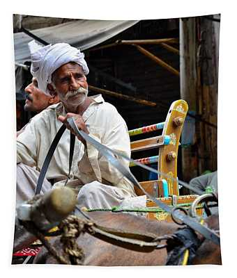 Smiling Man Drives Horse Carriage In Lahore Pakistan Tapestry