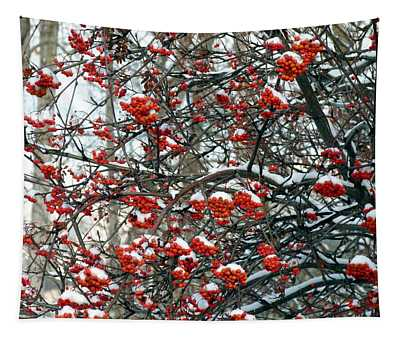 Snow- Capped Mountain Ash Berries Tapestry