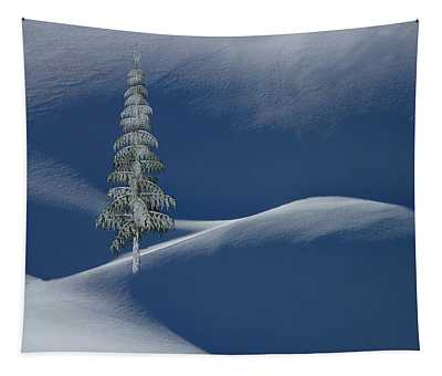 Snow Covered Tree And Mountains Color Tapestry
