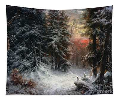 Snow Scene In The Black Forest Tapestry