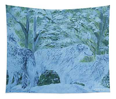 Snow Wolves Tapestry