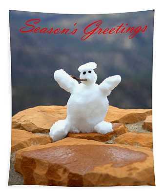 Snowball Snowman Tapestry