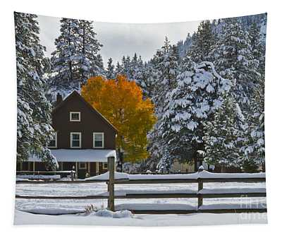 Snowed In At The Ranch Tapestry