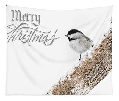 Snowy Chickadee Christmas Card Tapestry