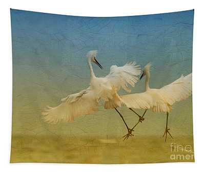 Snowy Egret Dance Tapestry