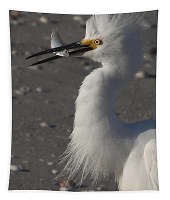 Snowy Egret Fishing Tapestry