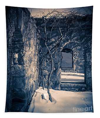 Snowy Ruins At Night Tapestry