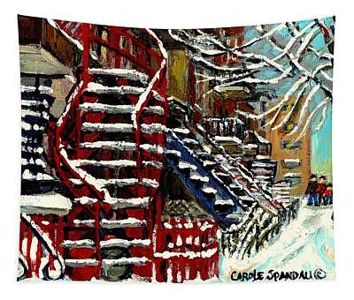 Snowy Steps The Red Staircase In Winter In Verdun Montreal Paintings City Scene Art Carole Spandau Tapestry