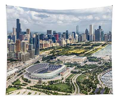 Soldier Field And Chicago Skyline Tapestry