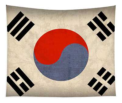 South Korea Flag Vintage Distressed Finish Tapestry