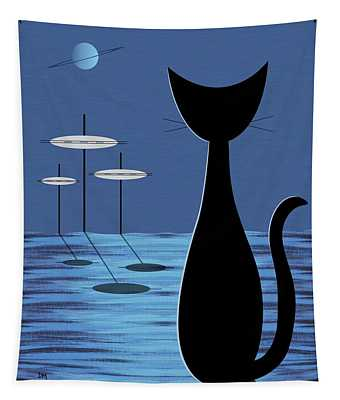 Space Cat In Blue Tapestry