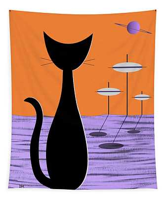 Space Cat Orange Sky Tapestry