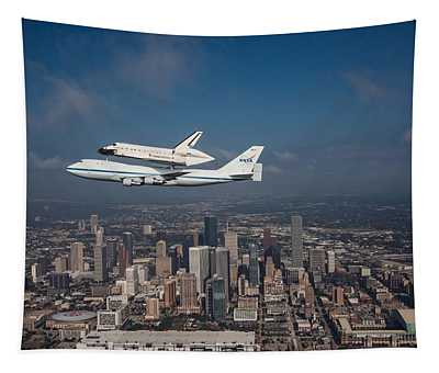 Space Shuttle Endeavour Over Houston Texas Tapestry