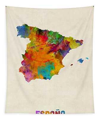Spain Watercolor Map Tapestry