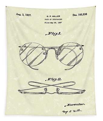 Spectacles 1937 Patent Art Tapestry