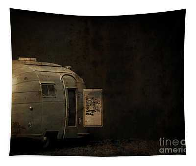 Spooky Airstream Campsite Tapestry