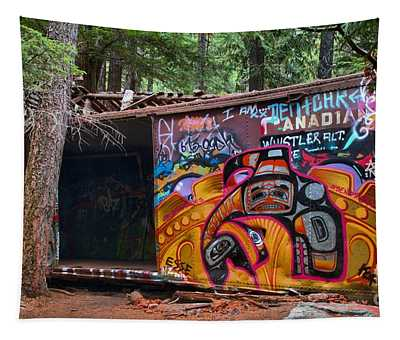 Spray Painted Box Car Train Wreck Tapestry
