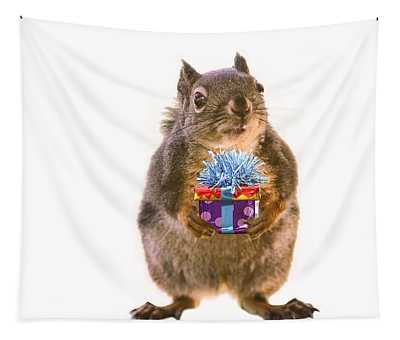 Squirrel With Gift Tapestry