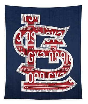 St. Louis Cardinals Baseball Vintage Logo License Plate Art Tapestry