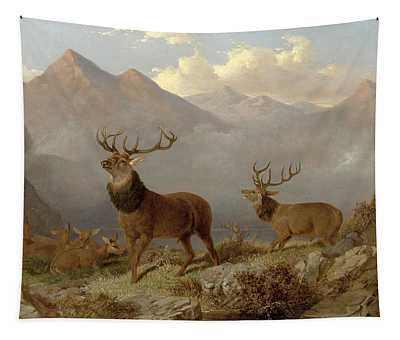 Stags And Hinds In A Highland Landscape Tapestry