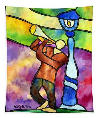 Stained Glass Jazzman Tapestry