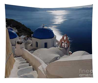 Stairway To The Blue Domed Church Tapestry