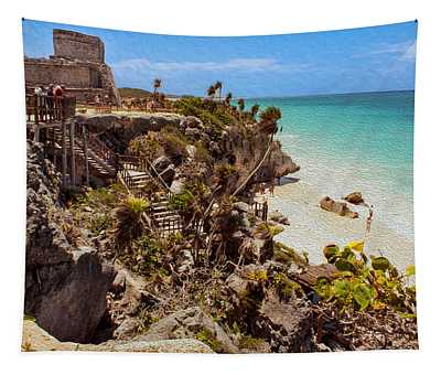 Stairway To The Tulum Beach  Tapestry
