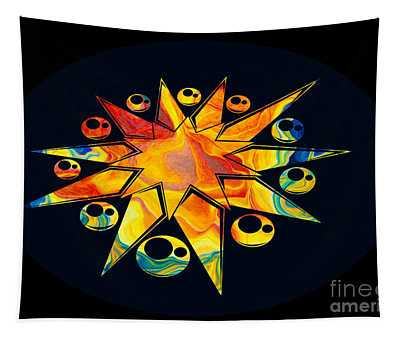 Staring Into Eternity Abstract Stars And Circles Tapestry