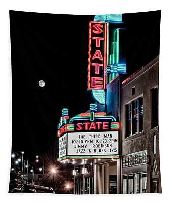 Tapestry featuring the photograph State Theater by Jim Thompson