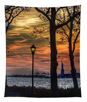 Statue Of Liberty From Battery Park Tapestry