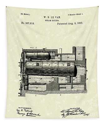Steam Boiler 1887 Patent Art Tapestry