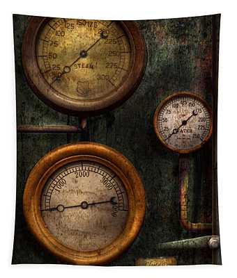 Tapestry featuring the photograph Steampunk - Plumbing - Gauging Success by Mike Savad