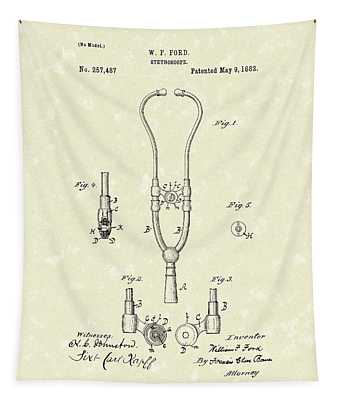 Stethoscope 1882 Patent Art Tapestry