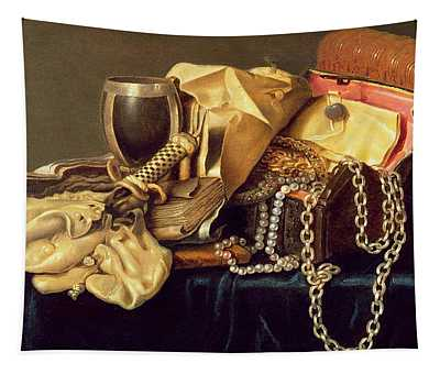 Still Life Of A Jewellery Casket Books And Oysters Tapestry