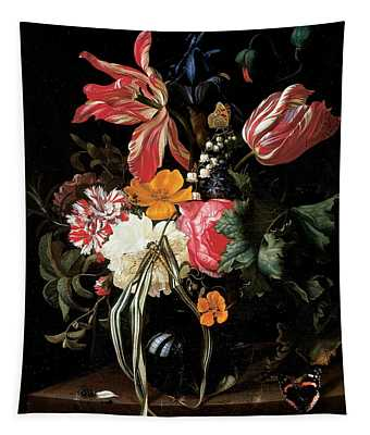 Still Life Of Flowers, 1669 Oil On Canvas Tapestry