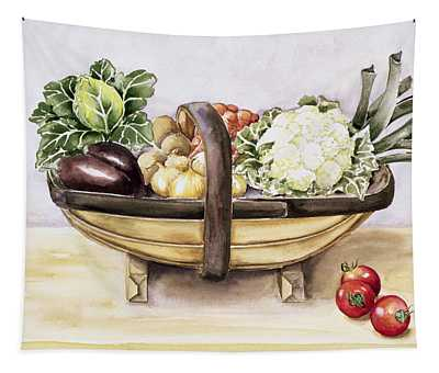 Still Life With A Trug Of Vegetables Tapestry