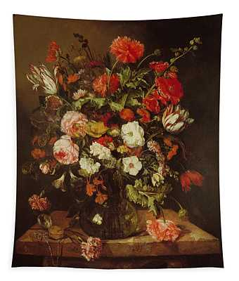 Still Life With Flowers Oil On Canvas Tapestry